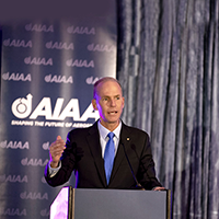 Dennis Mullenburg delivers remarks at the 2019 AIAA Awards Gala