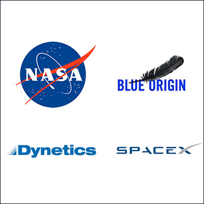 NASA-BlueOrigin-Dynetics-SpaceX-Logos