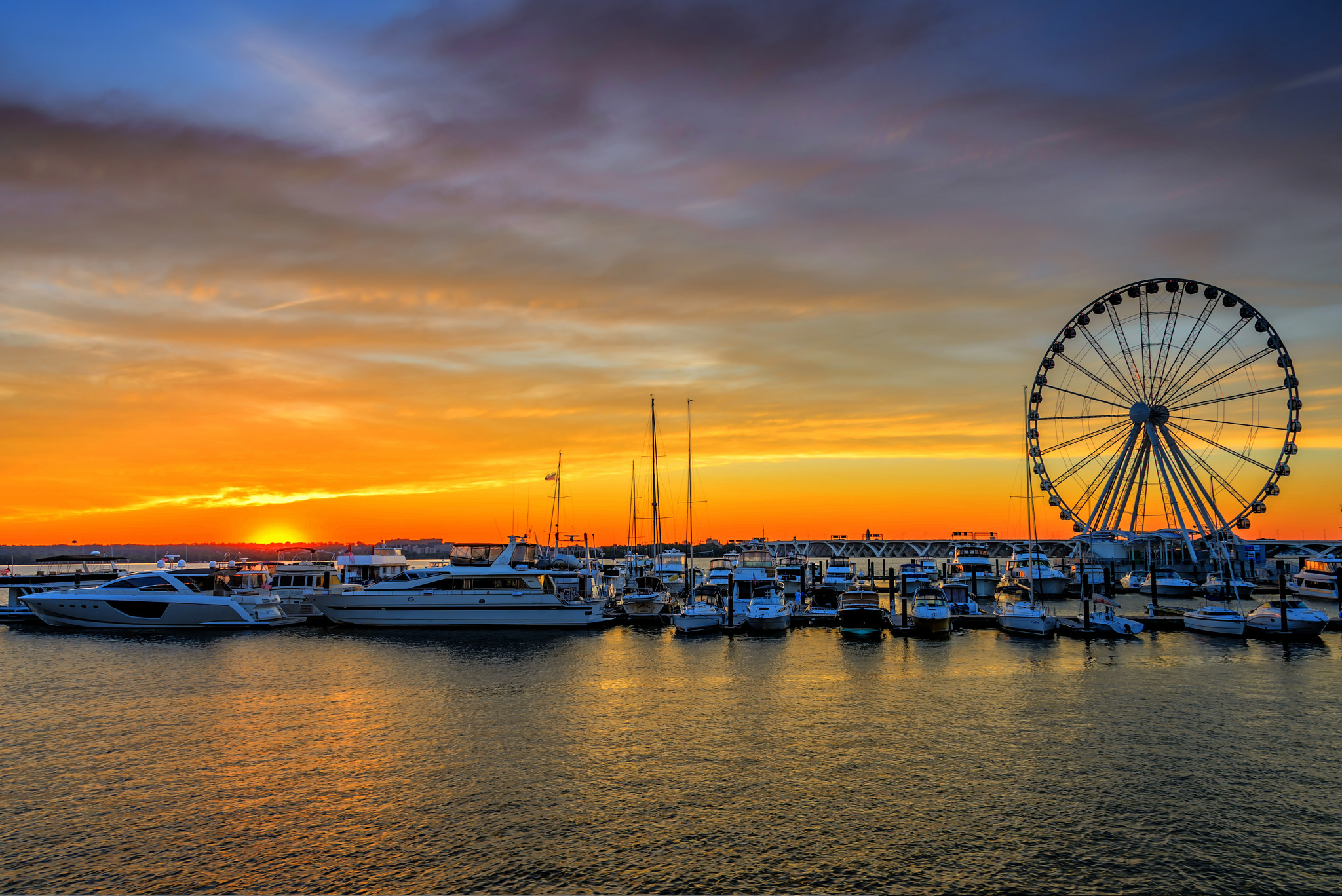 National Harbor Wheel at Sunset