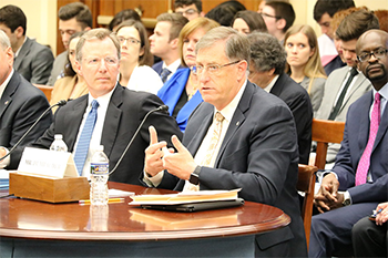 AIAA Executive Director Dan Dumbacher testifies on Capitol Hill, 13 June 2018